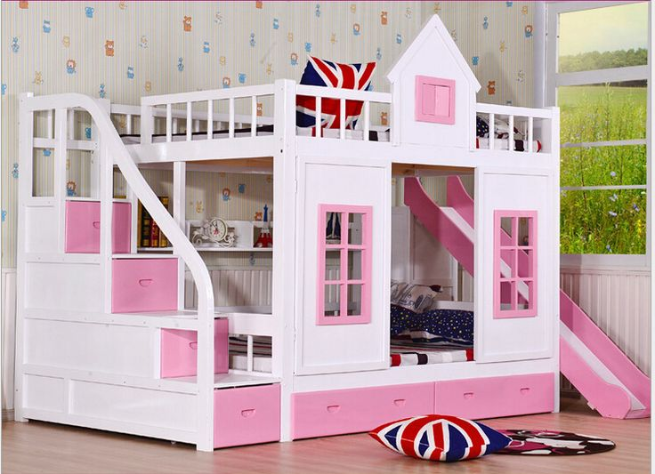 Trẻ em bunk giường ngủ bằng gỗ 2 tầng thang hòm với trượt giường màu hồng trẻ em phòng ngủ đặt đồ nội thất bule trẻ em trẻ em phòng ngủ