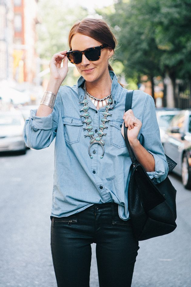 Chambray shirt + statement necklaces.