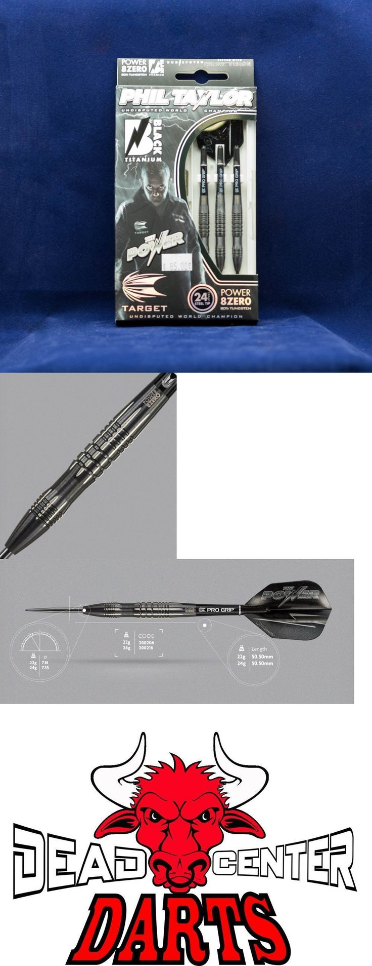Darts-Soft Tips 26331: Target Phil Taylor Power 8Zero Black Titanium Steel Tip Darts 80% Tungsten 24G BUY IT NOW ONLY: $59.7