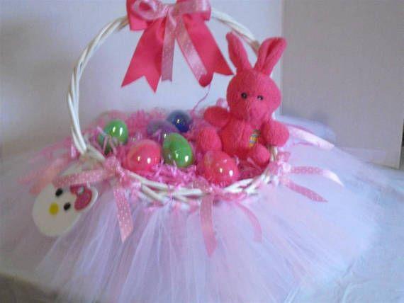 Easter Basket Tutu Hello kitty Easter basket by CraftyInHillsboro