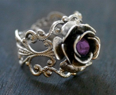 Silver Rose Ring with Amethyst Crystal -