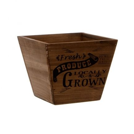 Fresh Produce Wooden Planter Taper Pot Brown (15.5x15.5cmH)