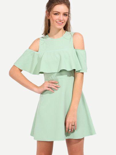 Robe péplum épaule découpée - vert