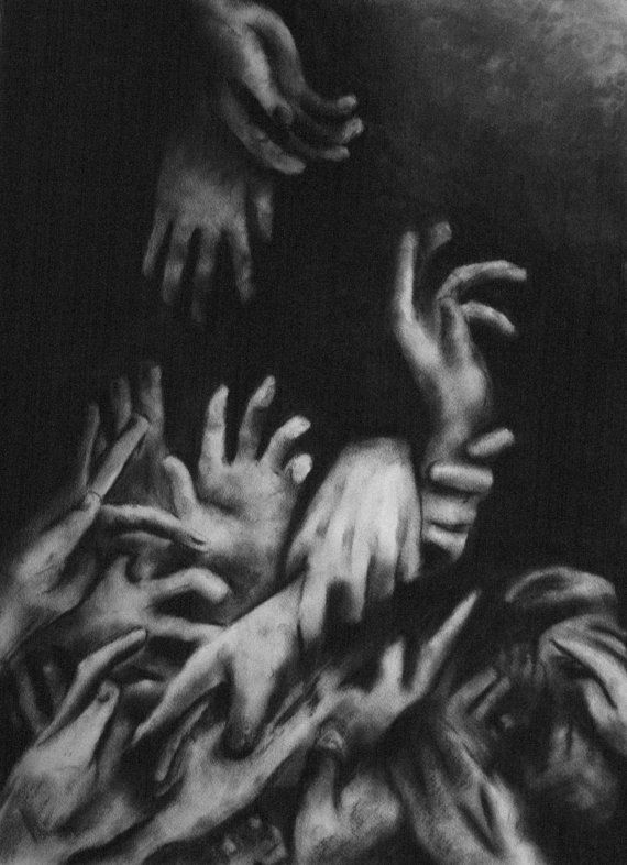 Dark Surreal Charcoal Drawing of Hands by KeepCalmLoveArt on Etsy