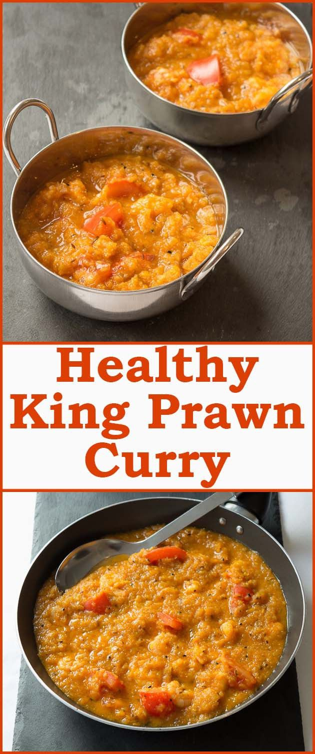 This delicious, healthy king prawn curry recipe is low in calories and low in fat but just as tasty (and better for you) than the traditional Indian recipe.