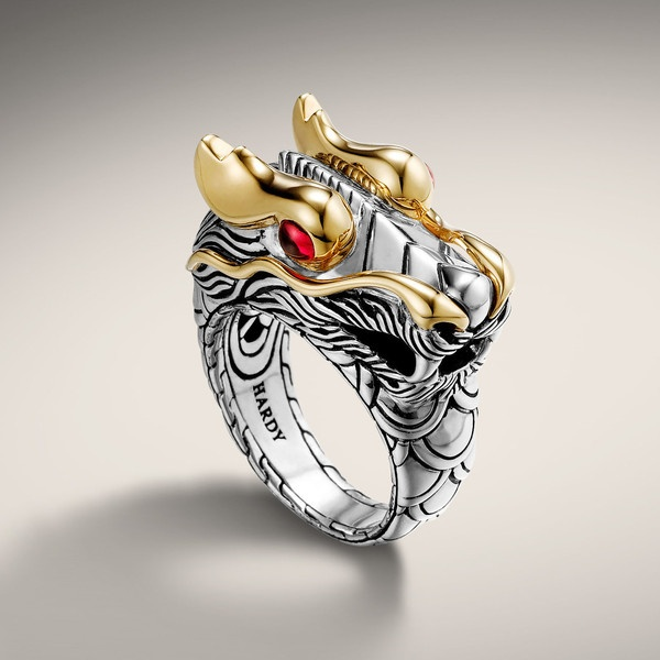 John Hardy NAGA COLLECTION Dragon Head Ring ($1,795) ❤ liked on Polyvore
