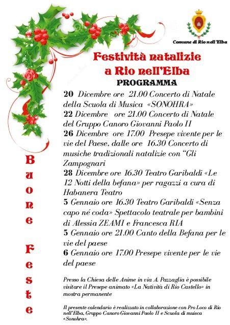 Il programma degli eventi delle Festività natalizie 2014-2015 a Rio nell'#Elba