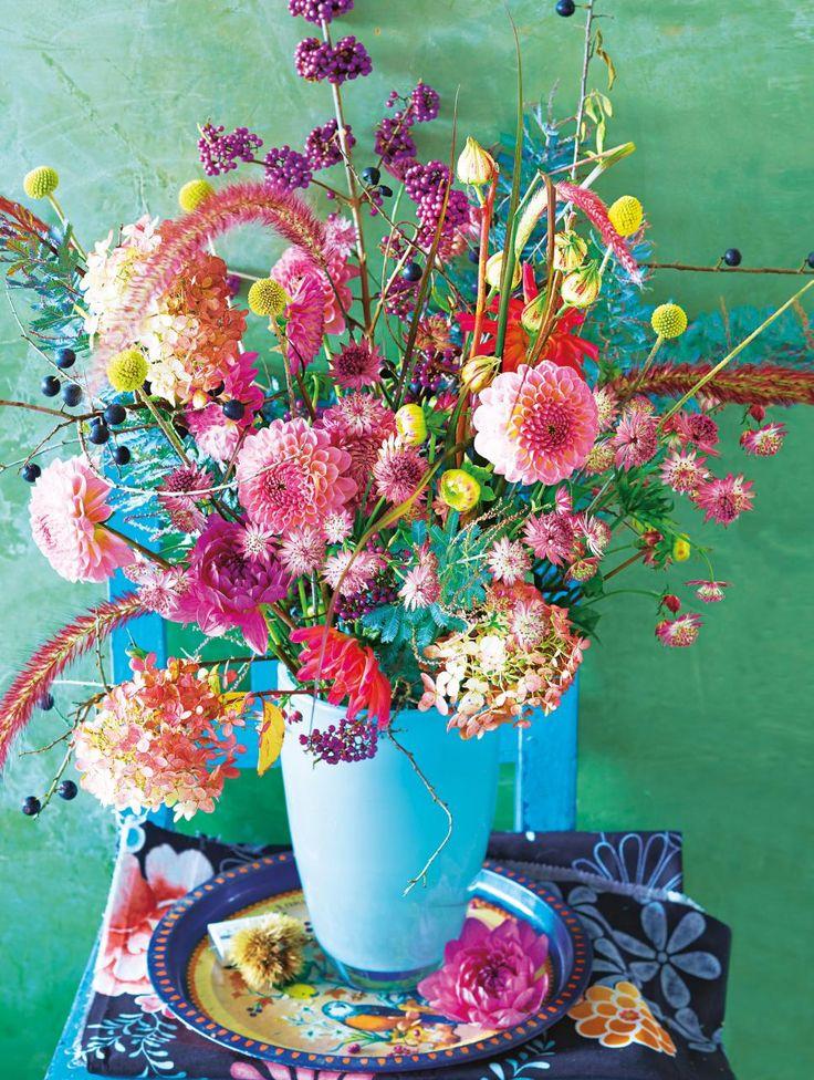 boho Herbststrauss mit Dahlien und Hortensien – flowers