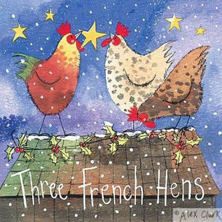 Alex Clark Charity Christmas Cards Three French Hens Hen & Holly Pack of 5 + 1 Free Alex Clark Card with every order
