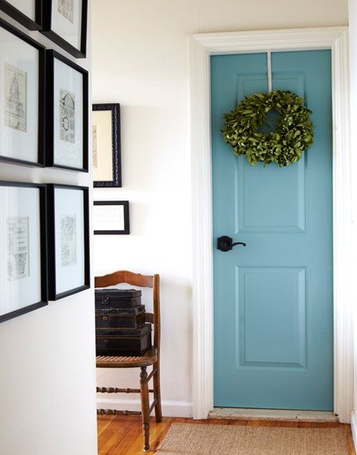 Paint door to garage a pretty color. I am doing this. That door is so hard to keep clean in white. From DESIGNSPIRATION and paint the inside of the front door?!
