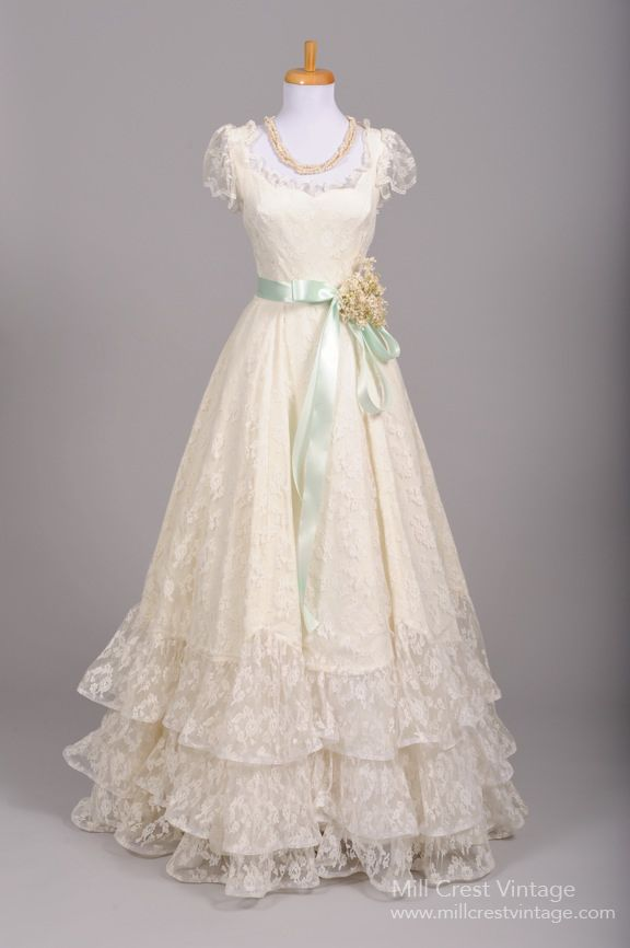 1970 Tiered Lace Formal Vintage Wedding Gown : Mill Crest Vintage