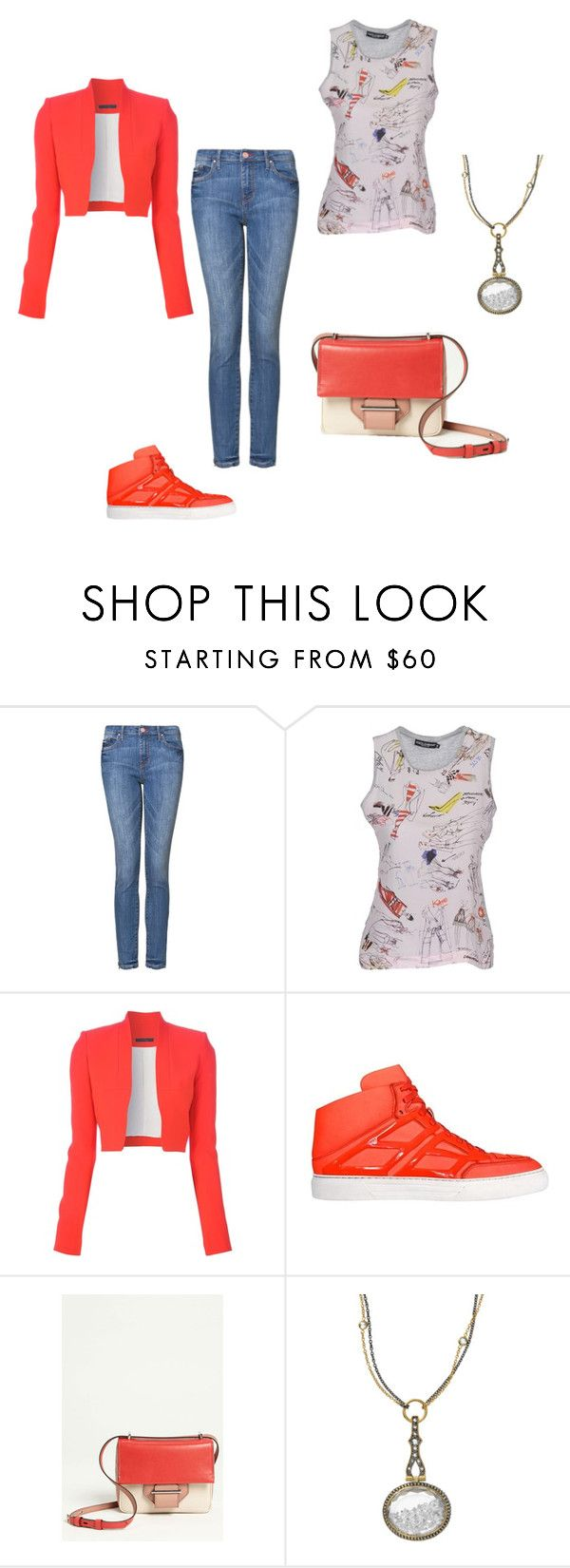 """""""SS - D - JEANS, TANK TOP, BOLERO JACKET, SNEAKERS - DENIM, WHITE, RED"""" by laliquemurano on Polyvore featuring MANGO, Dolce&Gabbana, Victoria Beckham, Alejandro Ingelmo, Reed Krakoff and Moritz Glik"""