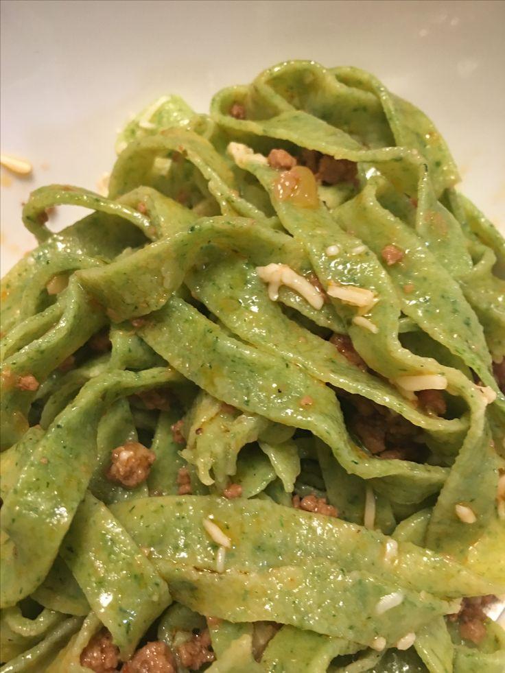 Spinach fettuccine pasta made at home( using semolina flour) so good!!!