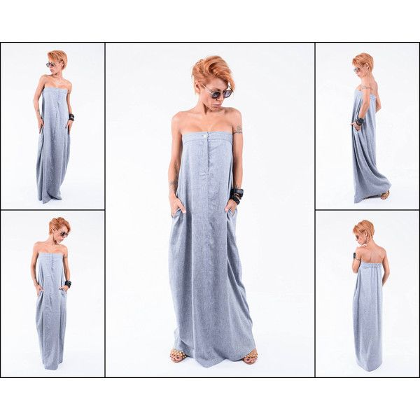 Maxi Loose Dress Linen Kaftan Loose Maxi Dress Maxi Grey Kaftan Plus... (165 BGN) via Polyvore featuring dresses, black, women's clothing, plus size linen dresses, maxi dresses, plus size going out dresses, plus size grey dress and plus size maxi dresses