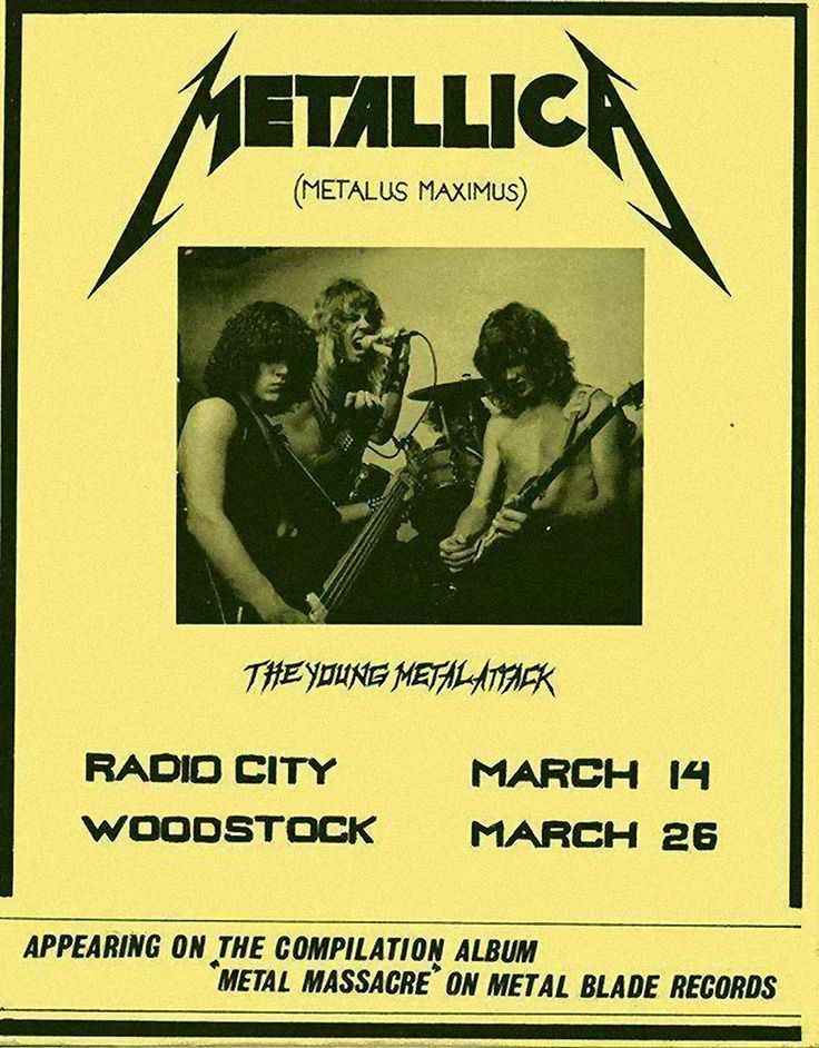 """March 14, 1982, James Hetfield, Lars Ulrich, Dave Mustaine and Ron McGovney  at Radio City in Anaheim, CA for Metallica's first gig. They performed two original songs ('Hit the Lights' and 'Jump in the Fire'), four Diamond Head covers ('Am I Evil?', 'The Prince', 'Helpless', and 'Sucking My Love'), a Sweet Savage cover ('Killing Time'), a Savage cover ('Let It Loose') and a Blitzkrieg cover ('Blitzkrieg'). Time flies!"""""""