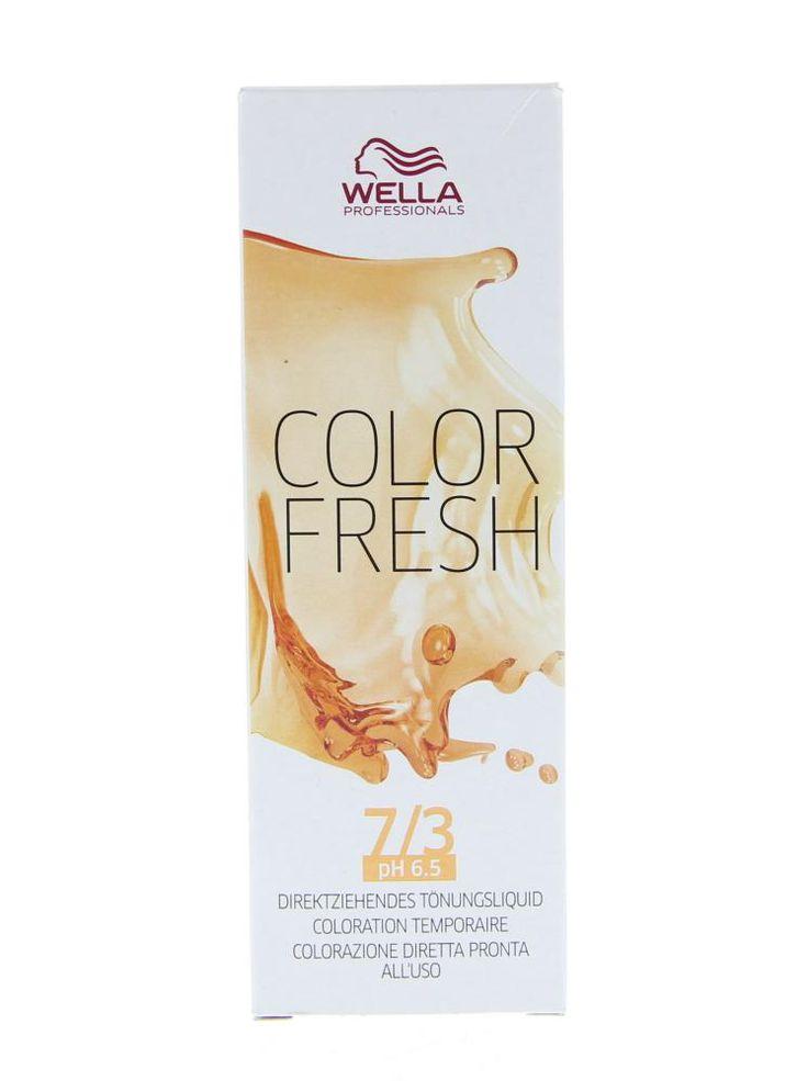 Wella Professionals Color Fresh Semi-Permanente Toning Haarkleuring 7.3 Goudblond 75ml  Wella Professionals Color Fresh Semi-Permanente Toning. Deze semi-Permanente Toning is ideaal voor het opfrissen van de haarkleur tussen twee kleurbehandelingen in voor kleurcorrectie en om kennis te maken met een kleurbehandeling. De kleur blijft tot wel 10 wasbeurten mooi. De behandeling is niet schadelijk voor het haar door de zachte pH waarde en is ammonia vrij. Daarnaast hydrateert en verzacht het…