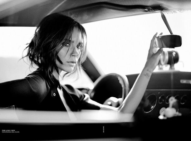 Victoria Beckham Vogue Australia September 2013 Photographer: Boo George Styled by: Caroline Newell Car Black White Portrait Tousled Hair Wavy Bob