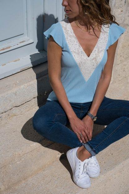 Kadın Mavi Dantel Detaylı Bluz