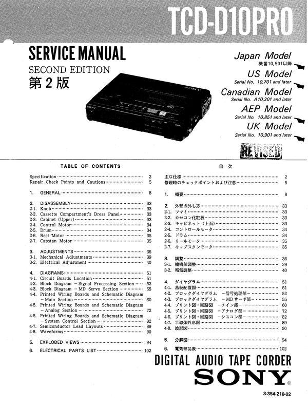 Sony TCD-D10PRO DAT , Original Service Manual PDF format suitable for Windows XP, Vista, 7 DOWNLOAD