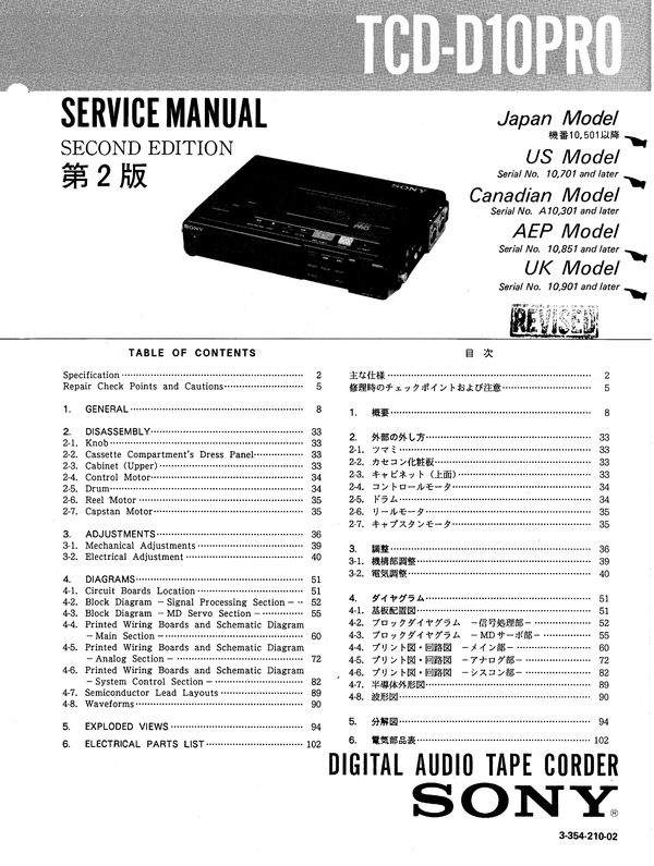 Sony TCD-D10PRO DAT , Original Service Manual PDF format suitable for Windows XP, Vista, 7 DOWNLOAD