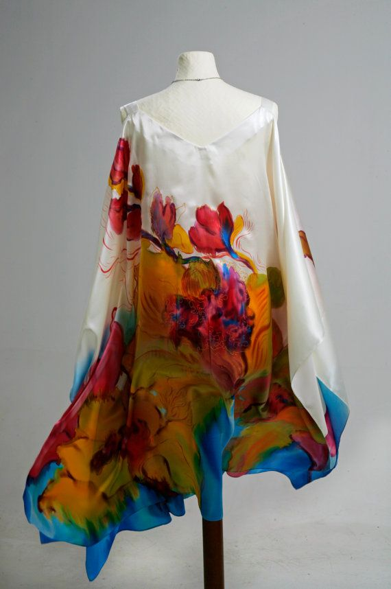 Plus Size Hand Painted Natural Silk Dress Fl Made To Order