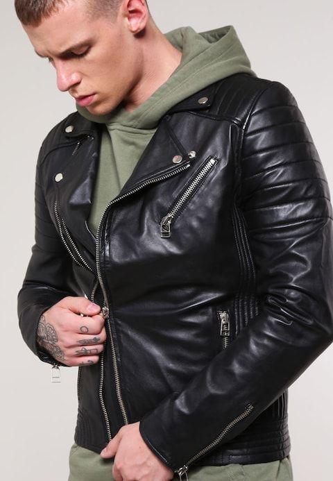 373e2cb49 Leather jacket - black @ Zalando.co.uk 🛒 in 2019 | MAN LEATHER ...