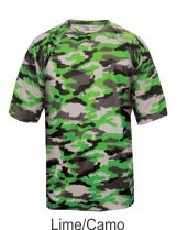 Youth Lime / Camo Performance Tee 2181 by Badger Sport at GrahamSG.com