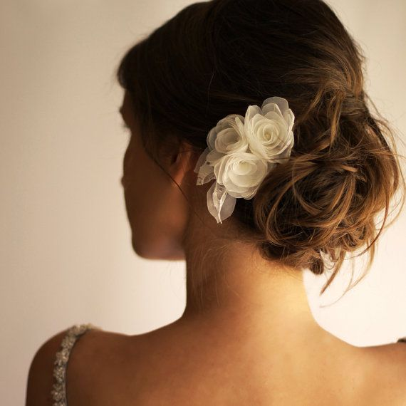 Bridal Hair Piece Ivory or White - Flower Hair Piece - Organza Lace - Wedding Hair Accessories