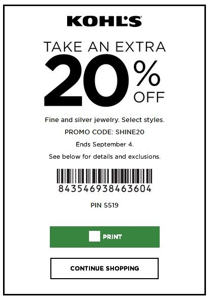 Kohls Coupon: 20% Off Fine and Silver Jewelry September 2017 #picoupons http://ift.tt/2vBS8xh