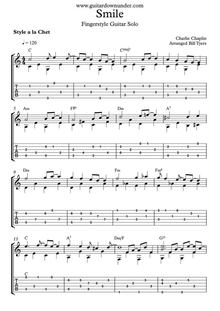 Chaplin Smile Chords Guitar Image