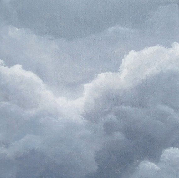 Original Skyscape Painting Gray Clouds Threatening Sky