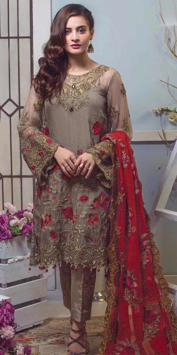 6e6e24cd19 Dazzle Beige And Red Georgette Pakistani Suit.   Salwar Kameez ...
