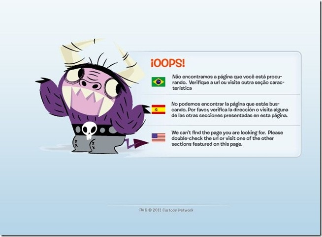 erro 404 cartoon network