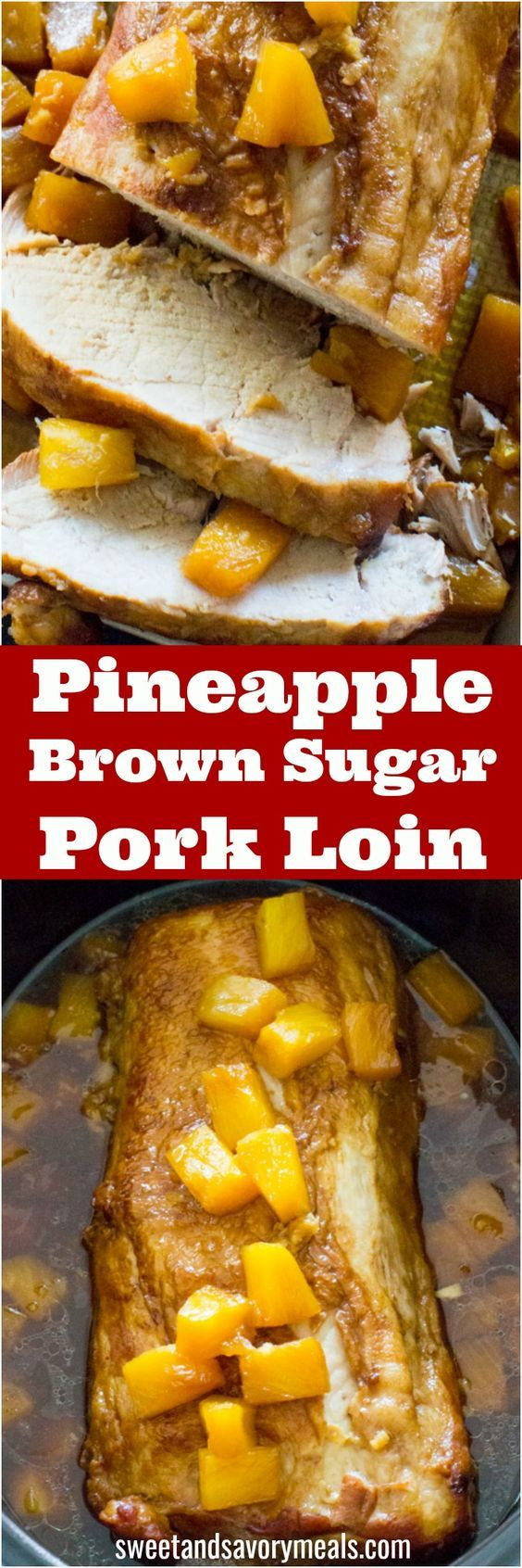 Slow Cooker Pineapple Pork made with just 5 ingredients. A great dinner with a fun tropical twist. #slowcooker #dinner #pork