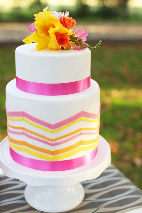 Pink, yellow, and orange chevron cake. Ten O'Clock Cookie Company. Photography by candycapco.com,