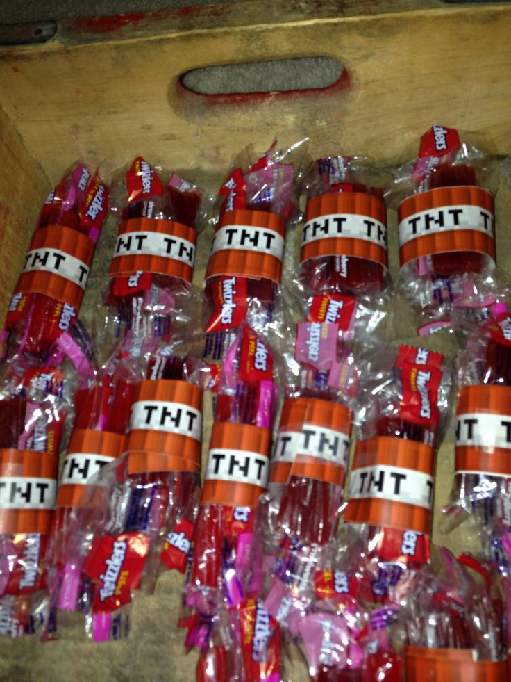 TNT! Minecraft party favors for the boy's birthday party gift bags!
