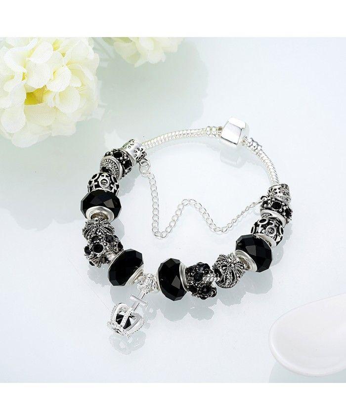 New Fashion Black Glass Charms With Crown Pendant DIY Bracelet