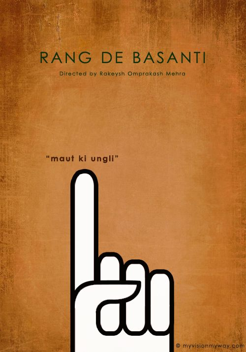 Some of the most creative Minimal Bollywood Movie Posters. #RangDeBasanti #Bollywood #AmirKhan