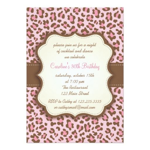 17 Best images about Animal Print Birthday Party Invitations on – Invitation Birthday Party Card