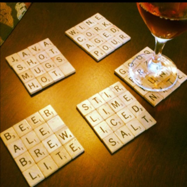 Homemade coasters using scrabble pieces!: