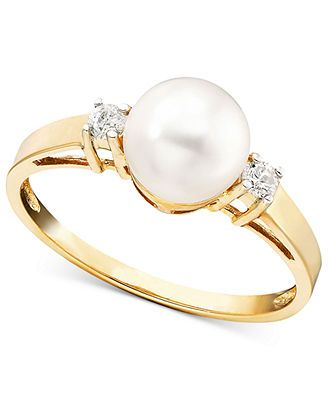14k Gold Ring, Cultured Freshwater Pearl and Diamond Accent, macys