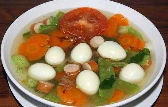 resep sup telur puyuh makaroni sosis