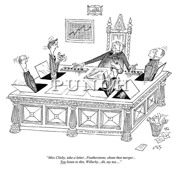 """""""The Pop-Up Executive Desk""""! Cartoon from Punch magazine, 1952 by Rowland Emett.  See our Gallery of fantastical Rowland Emett cartoons at www.punch.co.uk"""
