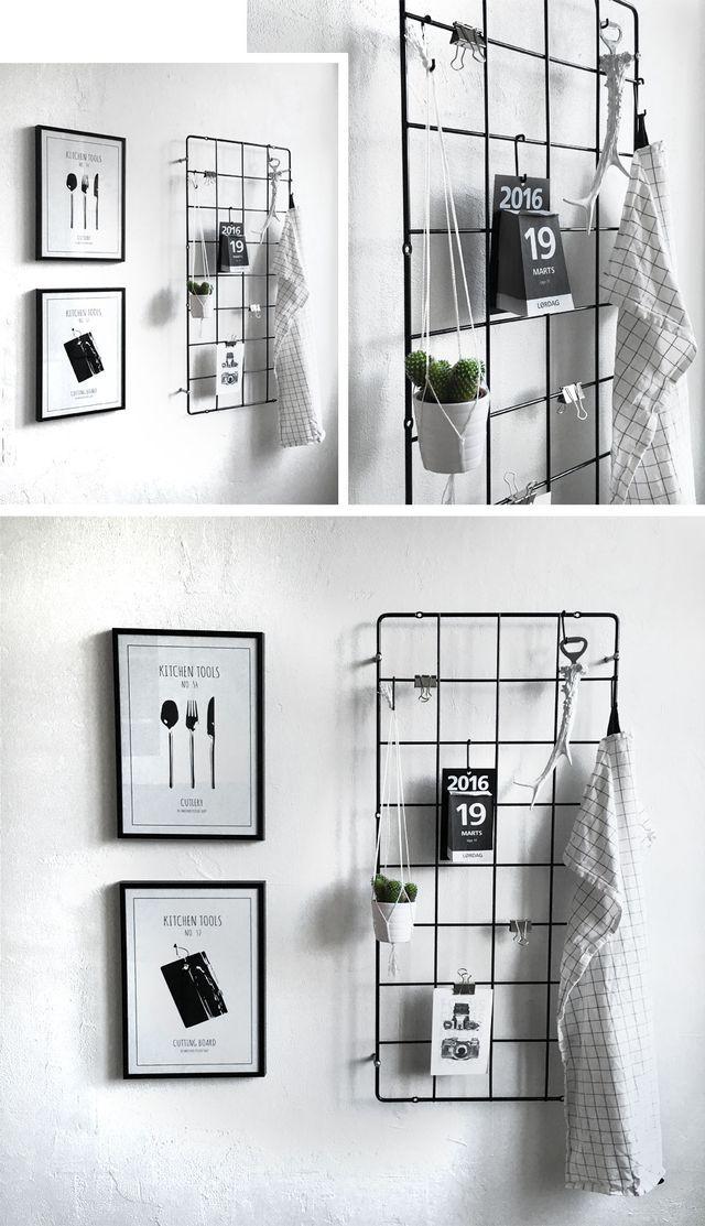 Leuk om een ijzeren rekje tegen de muur te hangen, je kun hier van alles aan knijperen of hangen.