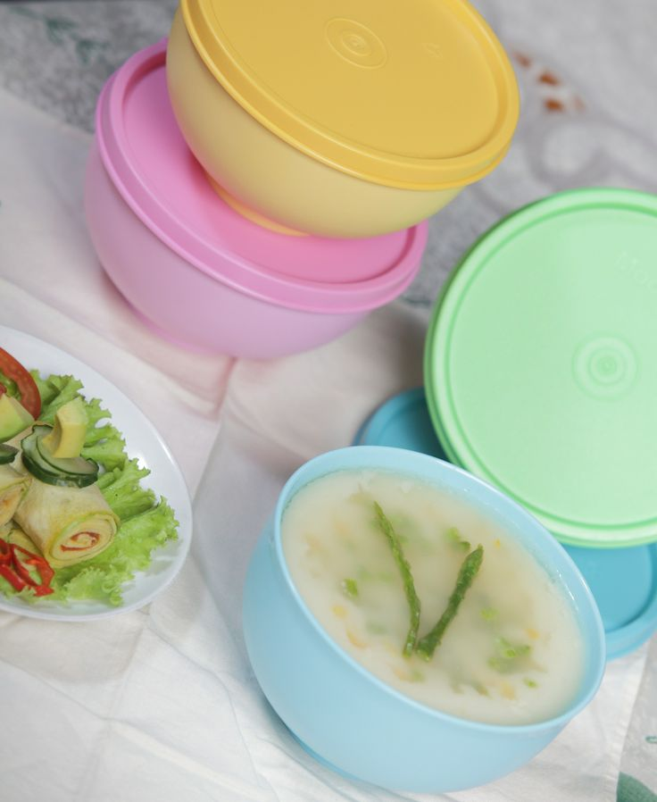 """Cream Soup & Egg Roll""  Plastic container by: Moorlife"