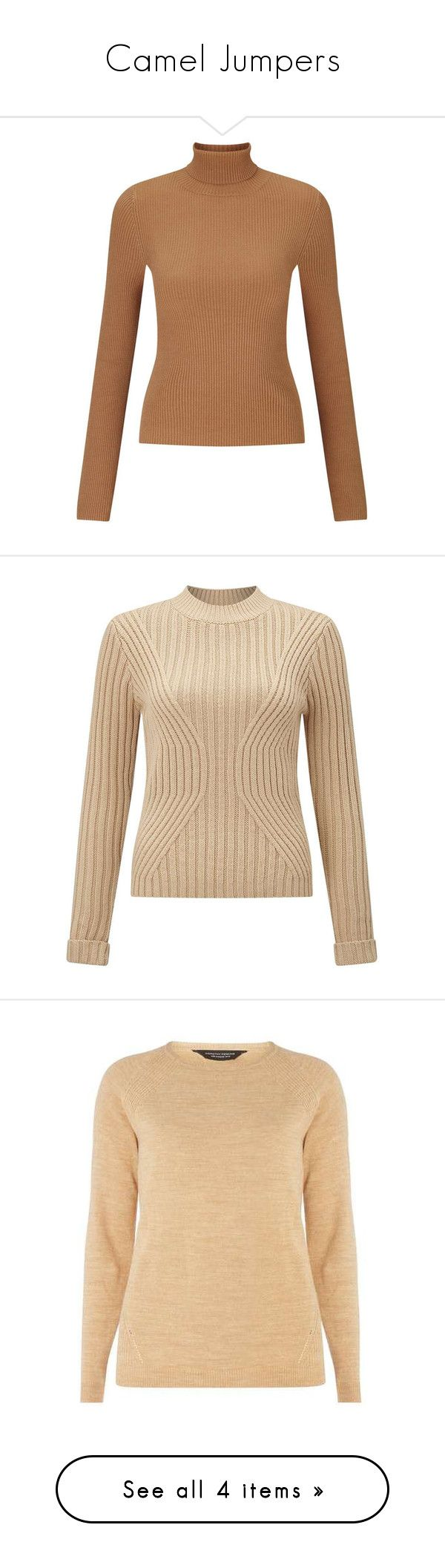 """""""Camel Jumpers"""" by stylish-sparkles ❤ liked on Polyvore featuring tops, sweaters, jumper, shirts, camel, petite, roll neck jumper, petite jumpers, beige sweater and petite sweaters"""