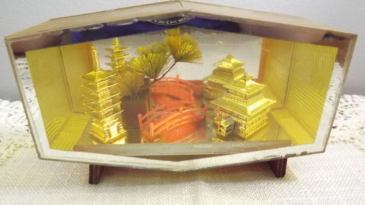 Vintage Glass Diorama, Asian Scene with Pagodas in Case, Oddity, Kitsch Decor Made in Japan by OutrageousVintagious on Etsy