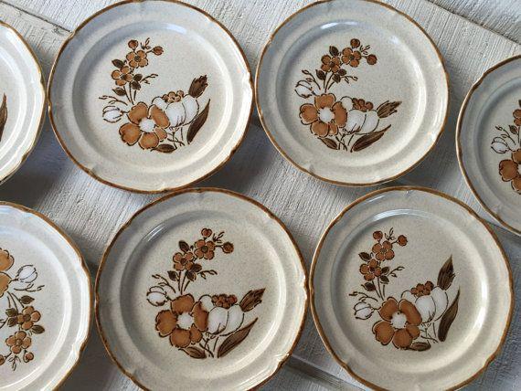 7 vintage stoneware plates retro dessert by