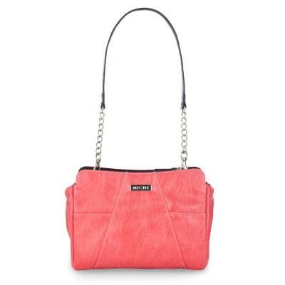 """Patricia Hot, hotter, HOTTEST! Patricia for Mini Bags effectively captures the heat of summer and glows with the happy vibe of the season. Electric coral textured faux leather features chic contrasting oblique white stitching and convenient end pockets. Patricia has """"WOW"""" factor, and adds a little fun and adventure to virtually any outfit"""