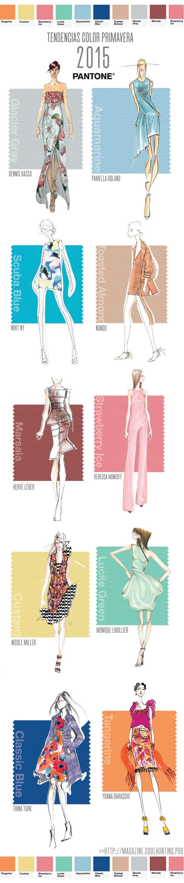 TENDENCIAS COLOR MODA PRIMAVERA 2015 - Selección de figurines con las tendencias de color de la temporada , gracias a Pantone y http://magazine.coolhunting.pro